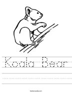 Koala Bear Handwriting Sheet