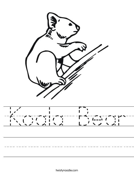 Koala Bear on Branch Worksheet