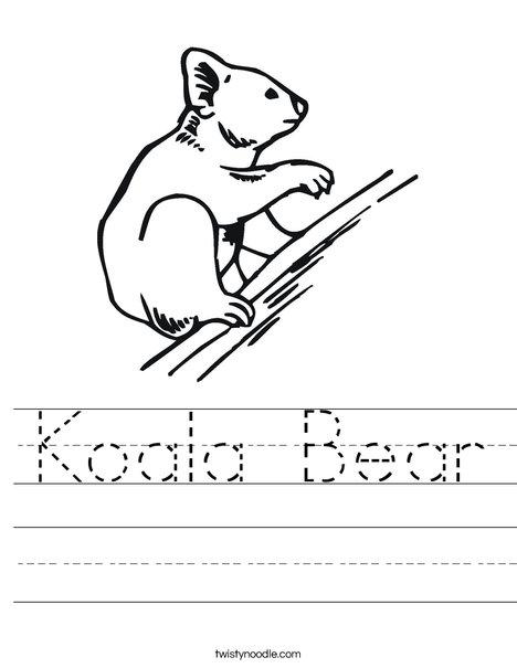 Koala Bear on Branch Worksheet