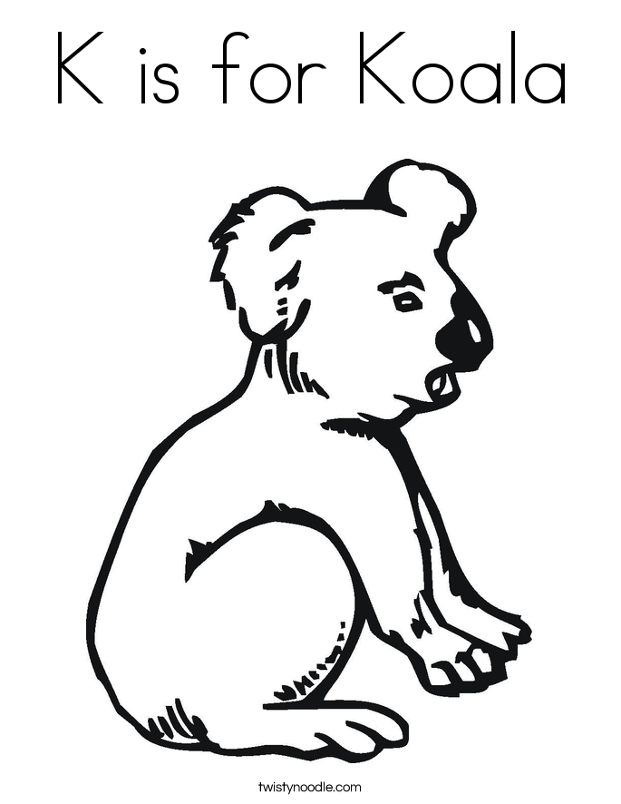 k is for koala bear coloring pages - photo #1