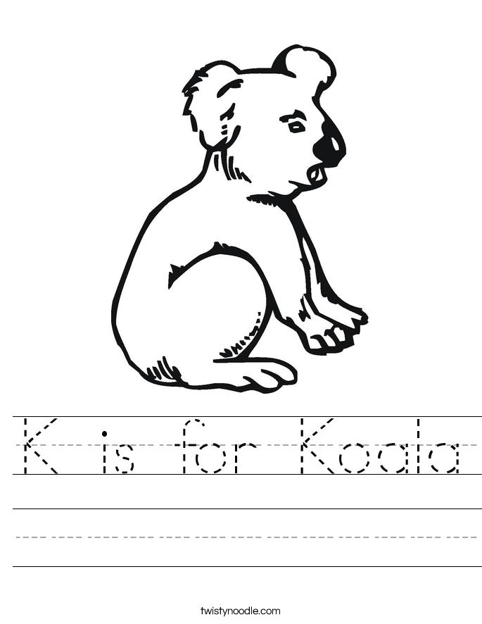 K is for Koala Worksheet
