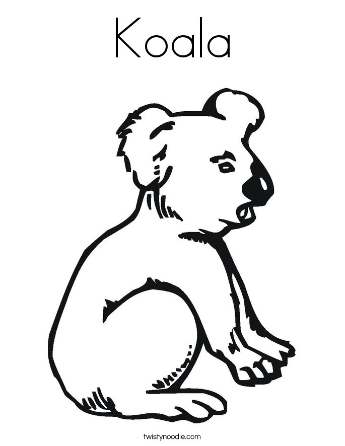 Koala coloring page twisty noodle for Koala coloring pages
