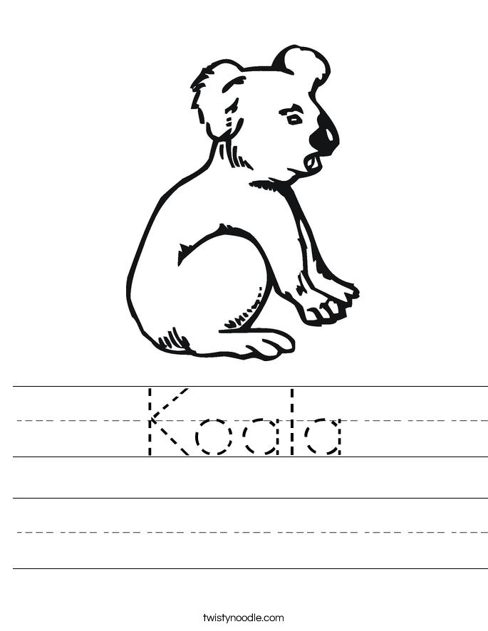 Koala Worksheet - Twisty Noodle