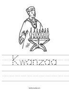 Kwanzaa Handwriting Sheet