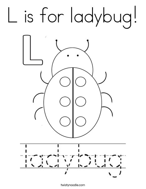 L is for ladybug Coloring Page - Twisty Noodle