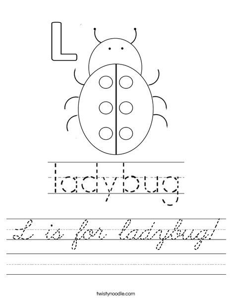 L is for ladybug! Worksheet