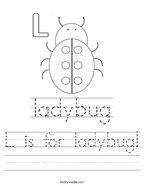 L is for ladybug Handwriting Sheet