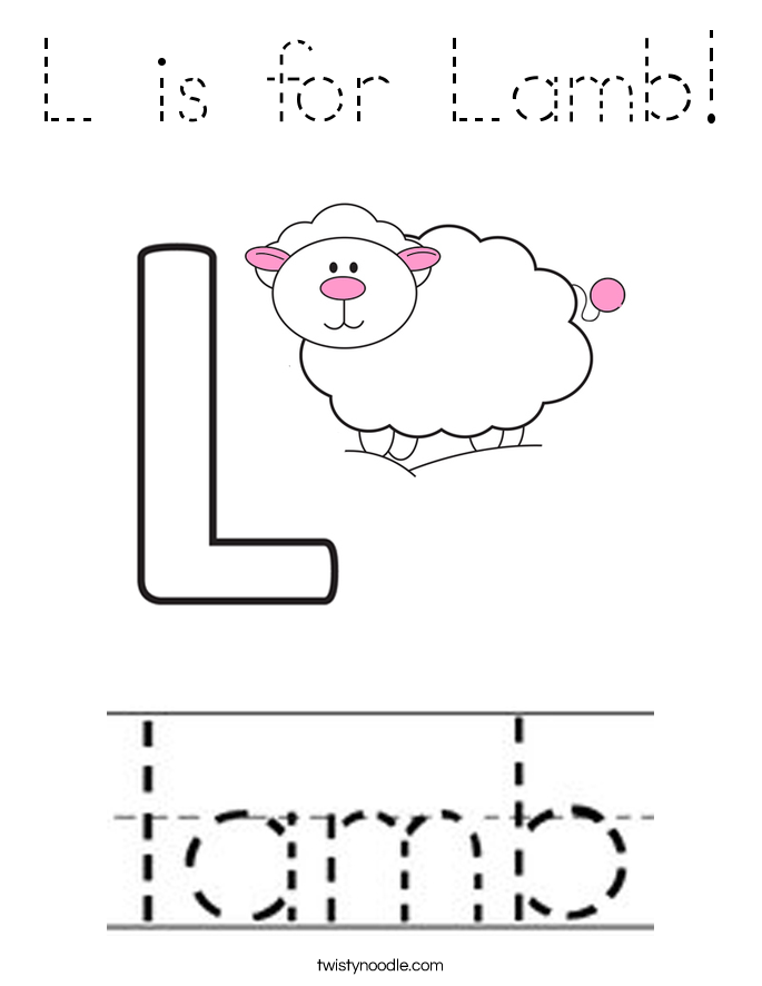 L is for Lamb! Coloring Page