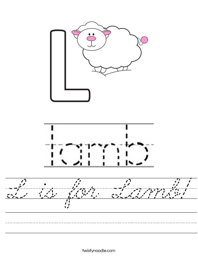 L is for Lamb! Worksheet