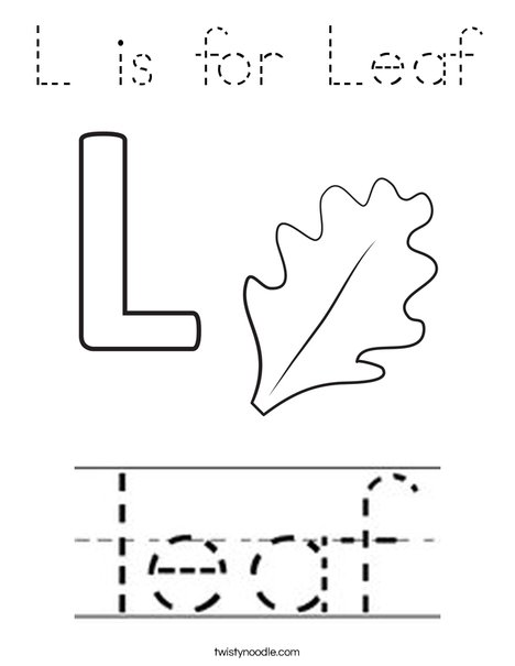 L is for Leaf Coloring Page