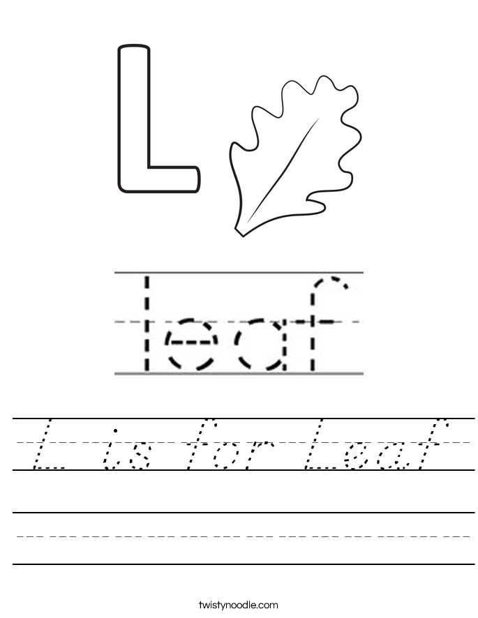 L is for Leaf Worksheet