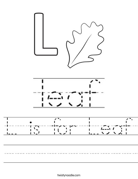 L is for Leaf Worksheet