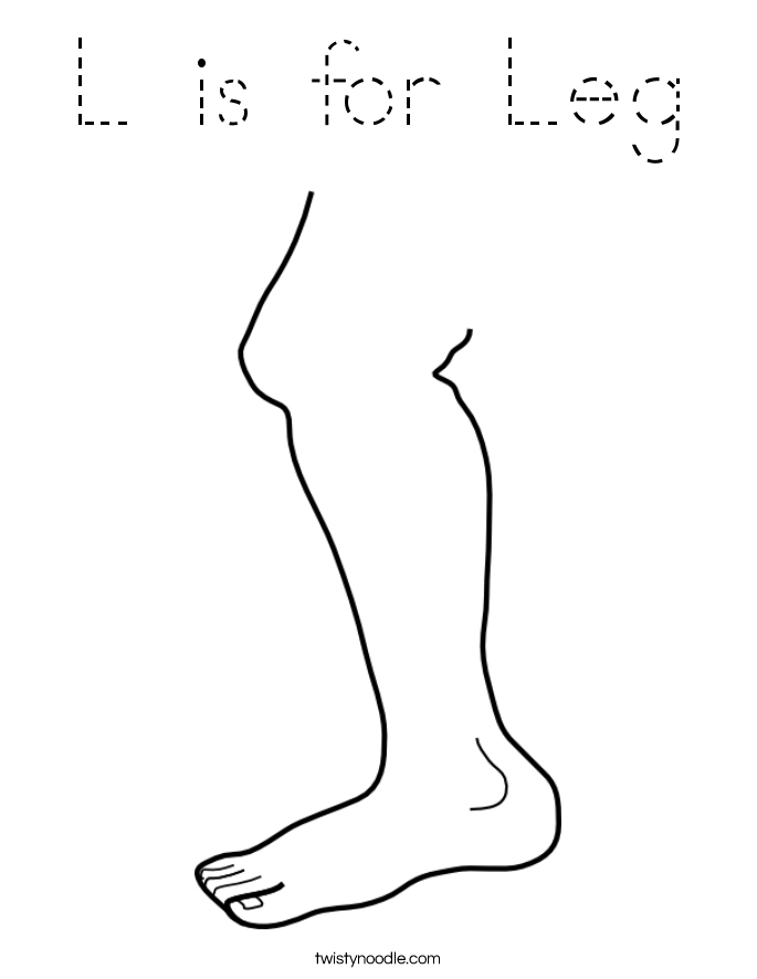 l is for leg coloring page - tracing