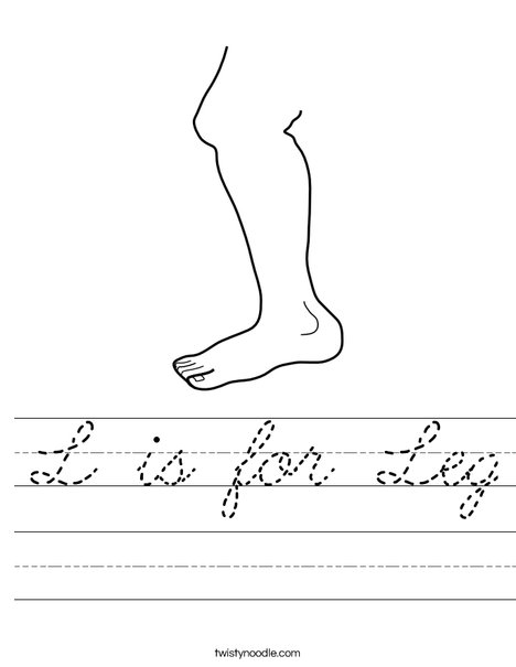 L is for Leg Worksheet