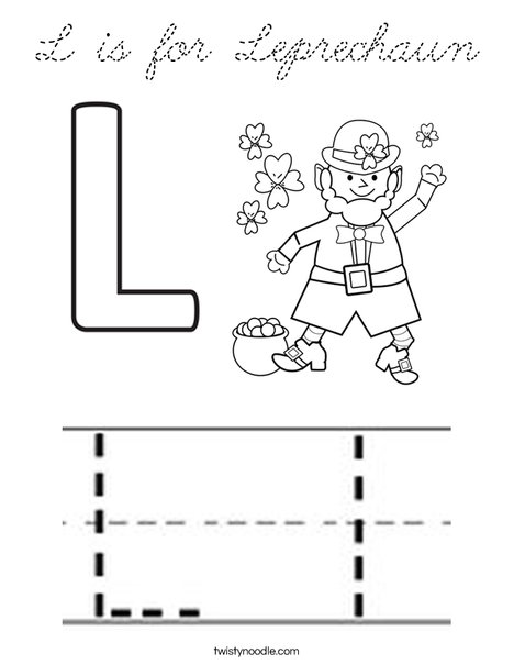 L is for Leprechaun Coloring Page