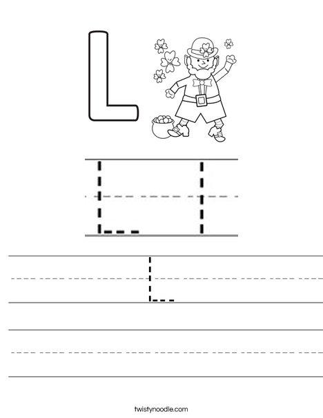 L is for Leprechaun Worksheet