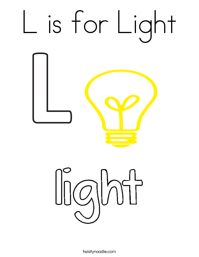 L is for Light Coloring Page