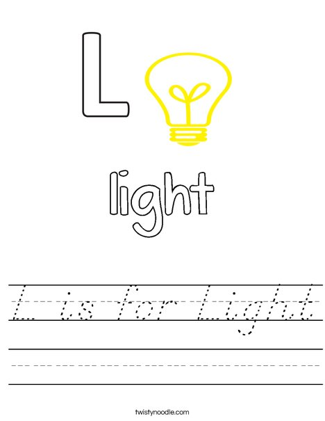 L is for Light Worksheet