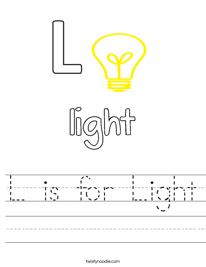 L is for Light Worksheet