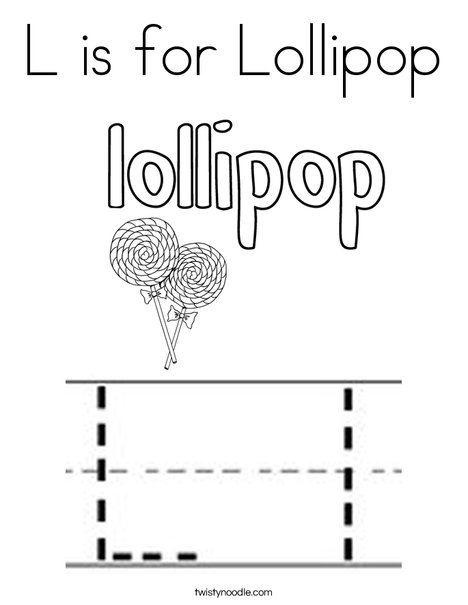 L is for Lollipop Coloring Page