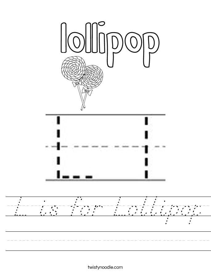 L is for Lollipop Worksheet
