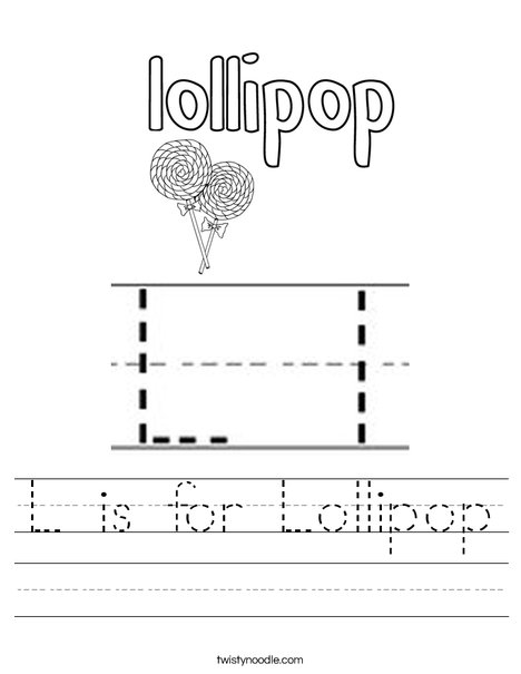 L is for Lollipop Worksheet