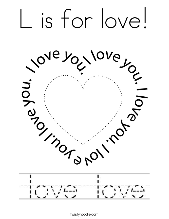 L is for love! Coloring Page
