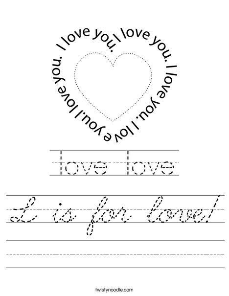 L is for love! Worksheet