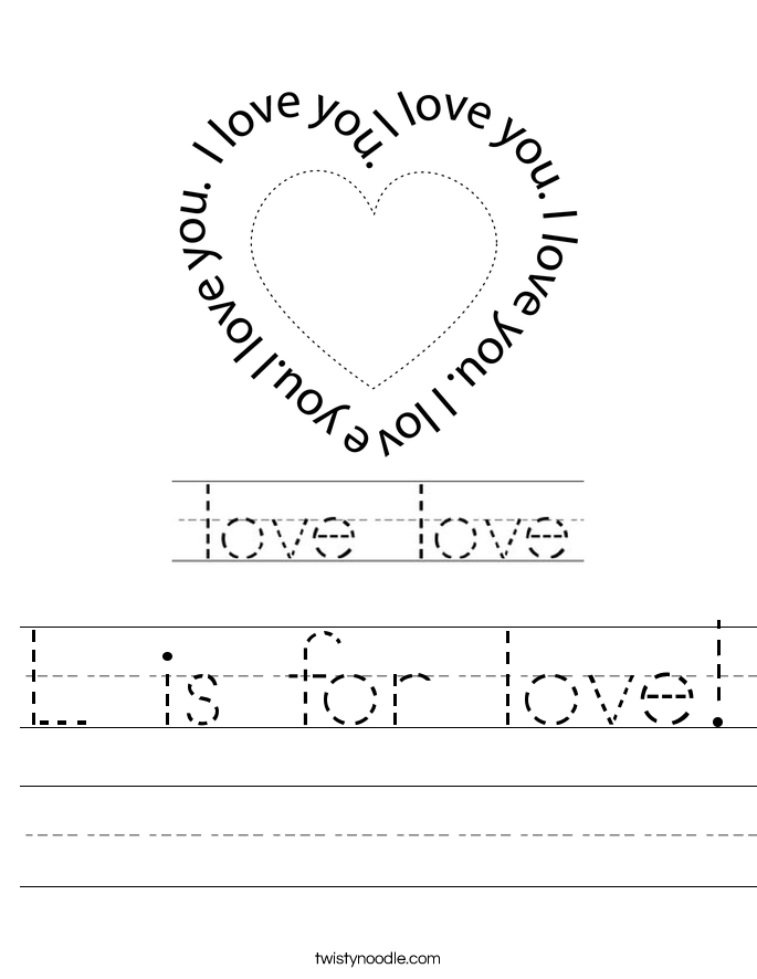 L is for love! Worksheet