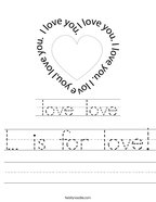 L is for love Handwriting Sheet