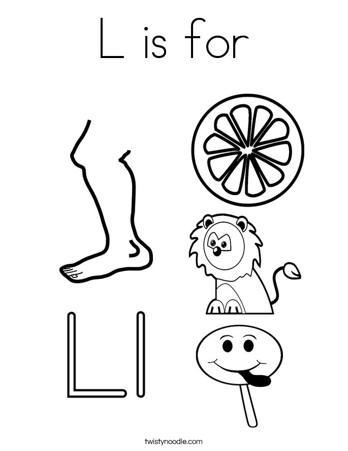 L is for coloring page twisty noodle for L coloring pages