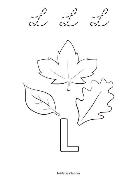 L Leaves Coloring Page