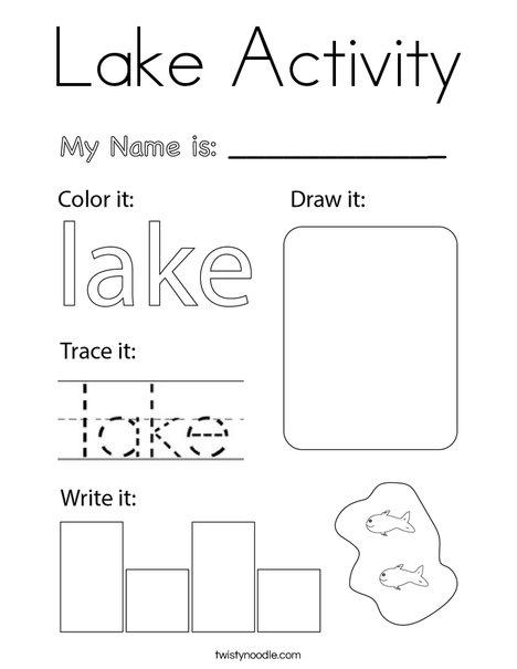 Lake Activity Coloring Page