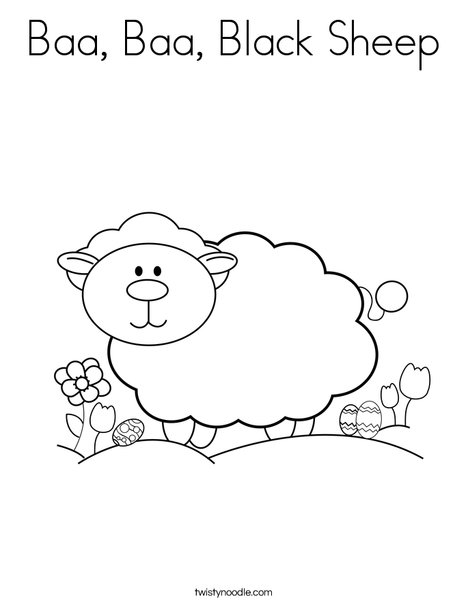 Baa Baa Black Sheep Coloring Page Twisty Noodle