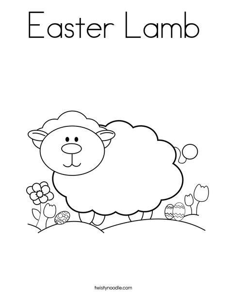 Easter Lamb Coloring Page - Twisty Noodle