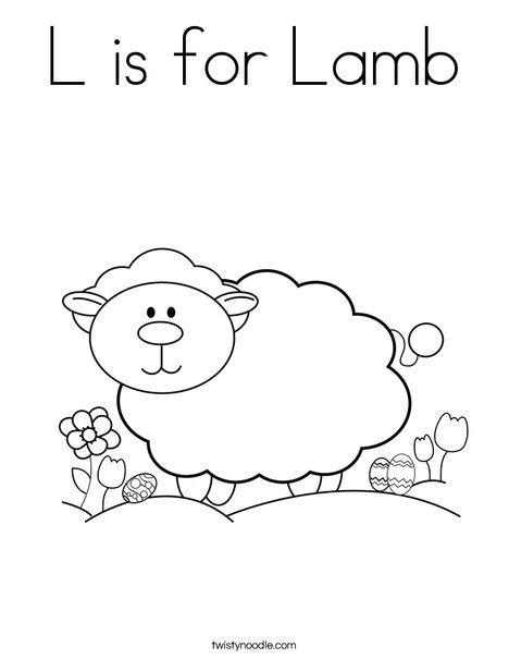 L is for Lamb Coloring Page - Twisty Noodle