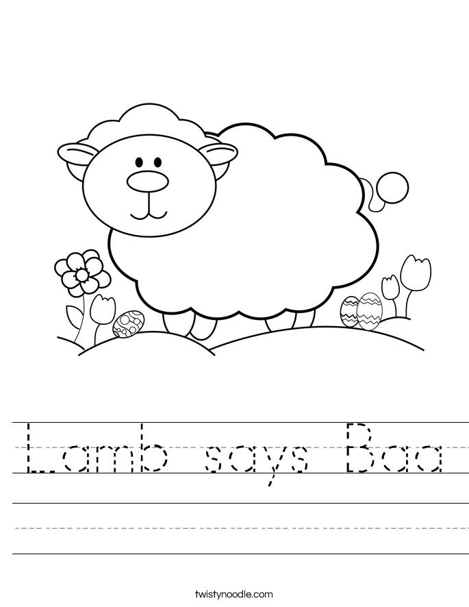 Lamb says Baa Worksheet