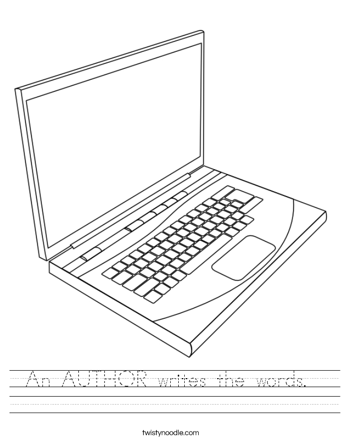 An AUTHOR writes the words.  Worksheet