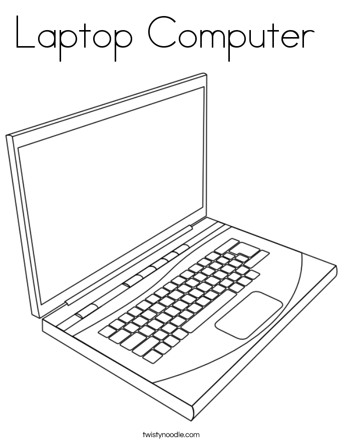 Laptop Computer Coloring Page