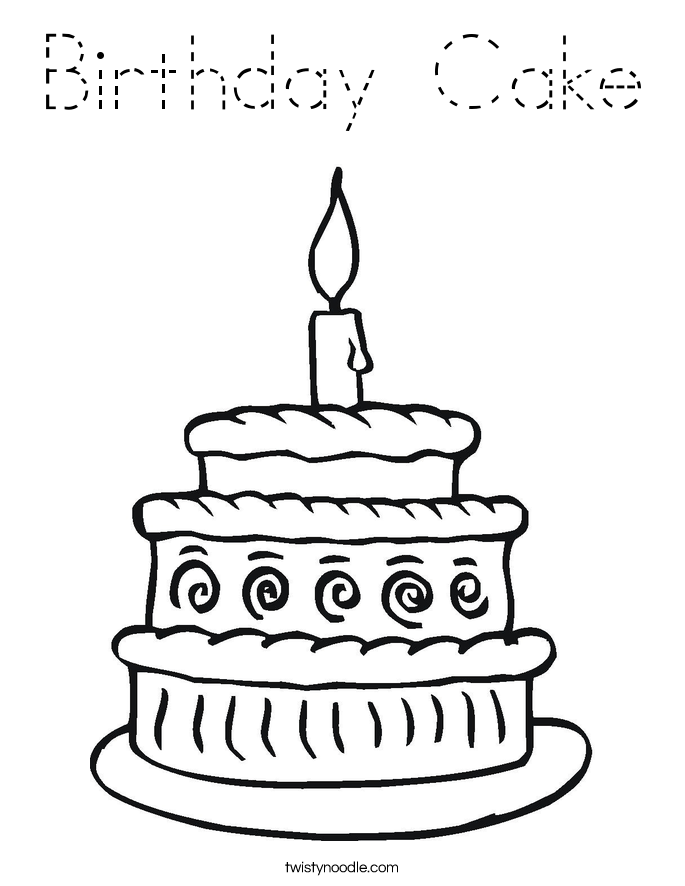 Birthday Cake Coloring Page - Tracing - Twisty Noodle