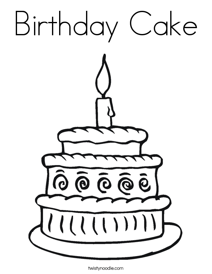 Birthday Cake Coloring Page