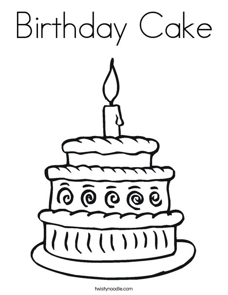 Birthday Cake Coloring Page - Twisty Noodle