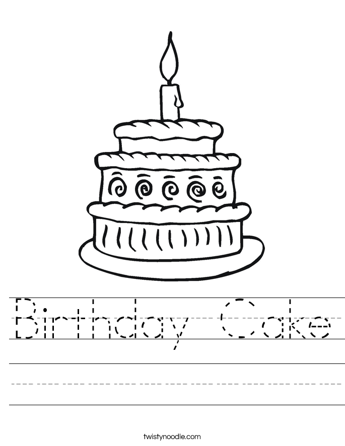 Birthday Cake Worksheet