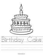 Birthday Cake Handwriting Sheet