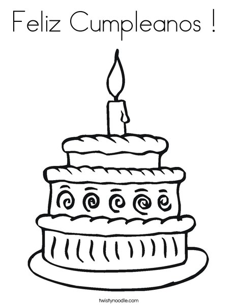 feliz cumpleanos coloring pages feliz cumpleanos coloring page twisty noodle - Feliz Cumpleanos Coloring Pages