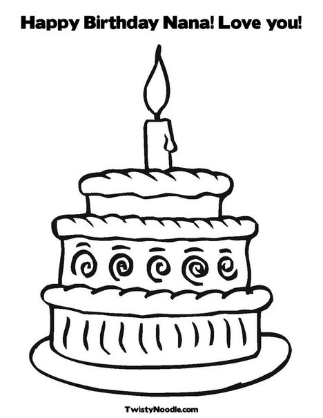 Free coloring pages of i love nana for Happy birthday nana coloring pages