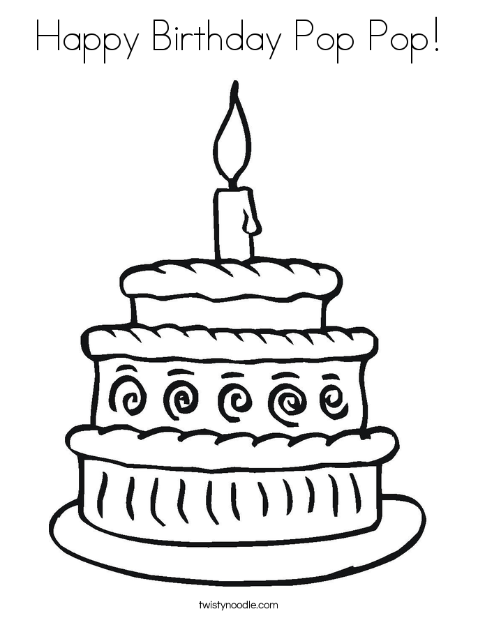 Happy Birthday Pop Pop! Coloring Page.