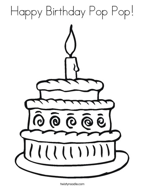 layered cake coloring page - Coloring Pages For Happy Birthday