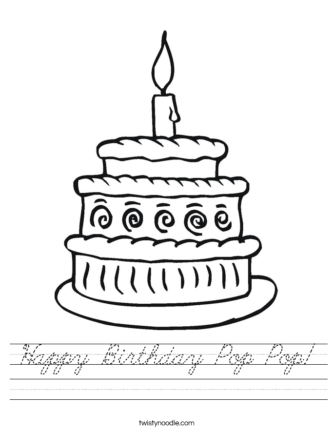 Happy Birthday Pop Pop! Worksheet