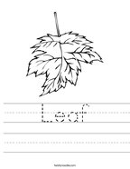 Leaf Handwriting Sheet